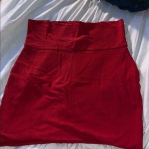 Red cotton mini pencil skirt
